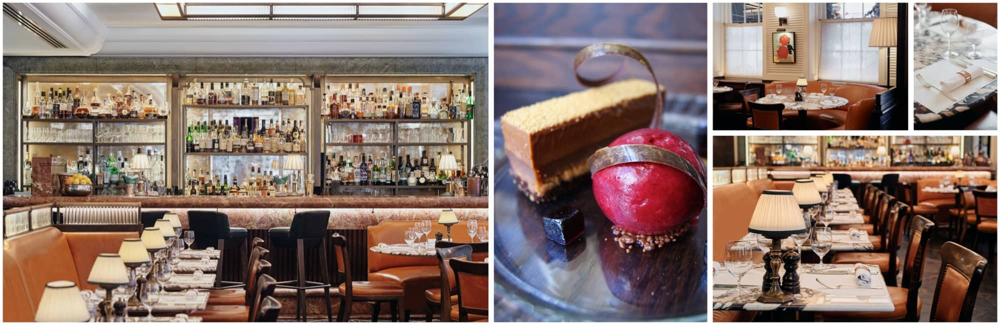 A collage of images of 34 Mayfair's dining room set for service and an image of one of 34's famous desserts.